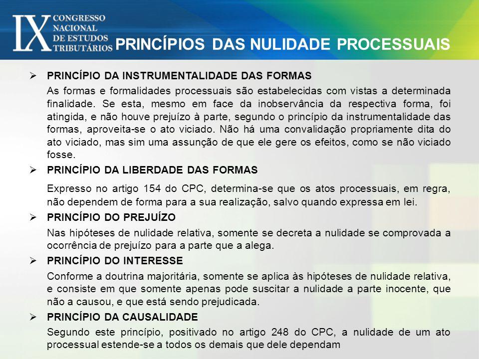 PRINCÍPIOS DAS NULIDADE PROCESSUAIS