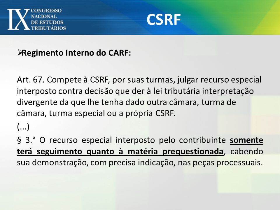 CSRF Regimento Interno do CARF: