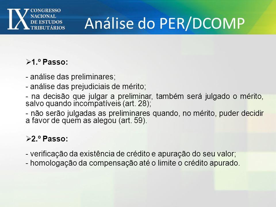 Análise do PER/DCOMP 1.º Passo: - análise das preliminares;