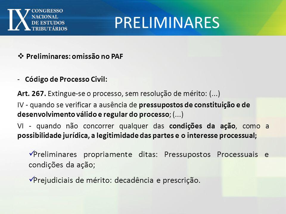 PRELIMINARES Preliminares: omissão no PAF. Código de Processo Civil: Art. 267. Extingue-se o processo, sem resolução de mérito: (...)