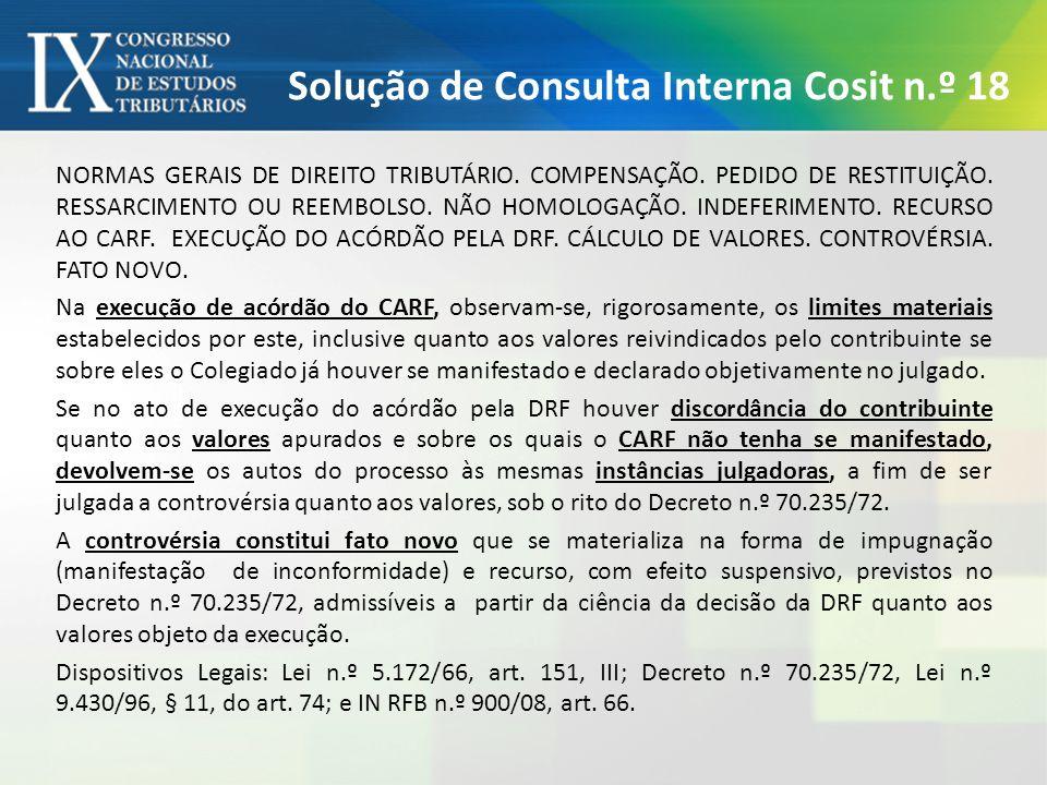 Solução de Consulta Interna Cosit n.º 18