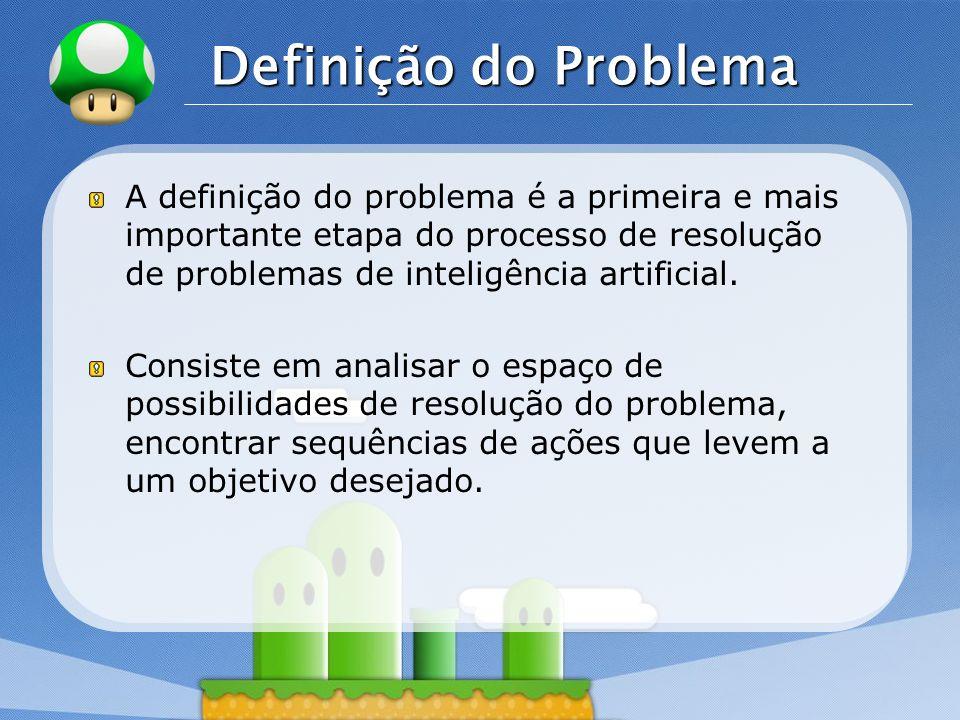 Definição do Problema A definição do problema é a primeira e mais importante etapa do processo de resolução de problemas de inteligência artificial.
