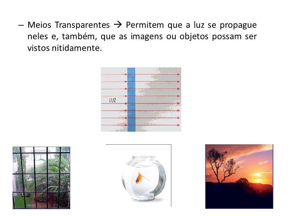 Meios Transparentes  Permitem que a luz se propague neles e, também, que as imagens ou objetos possam ser vistos nitidamente.