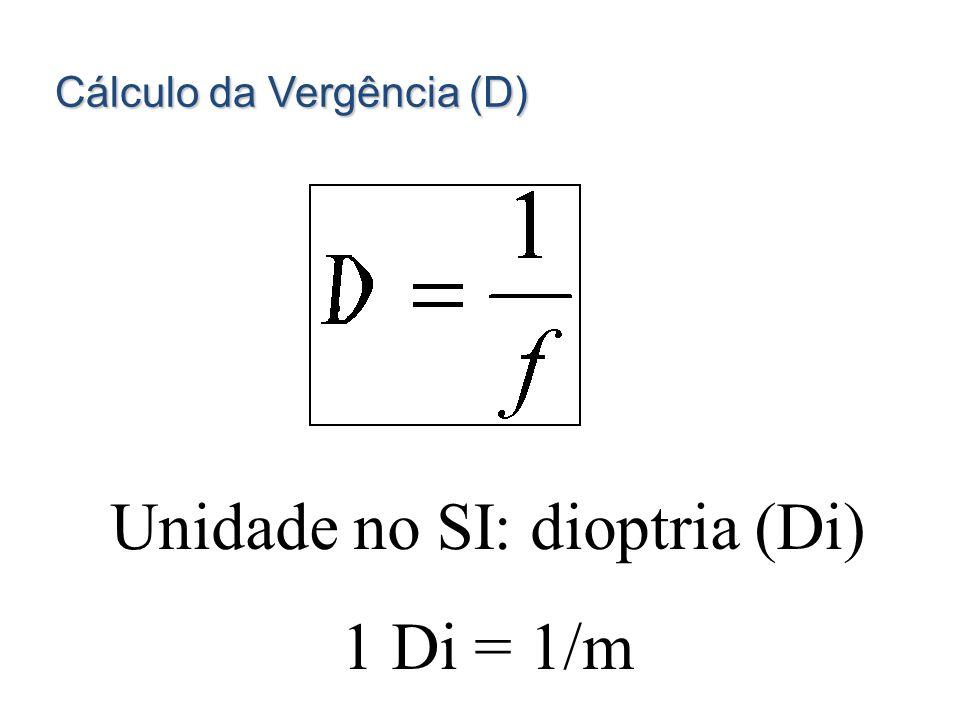 Unidade no SI: dioptria (Di)