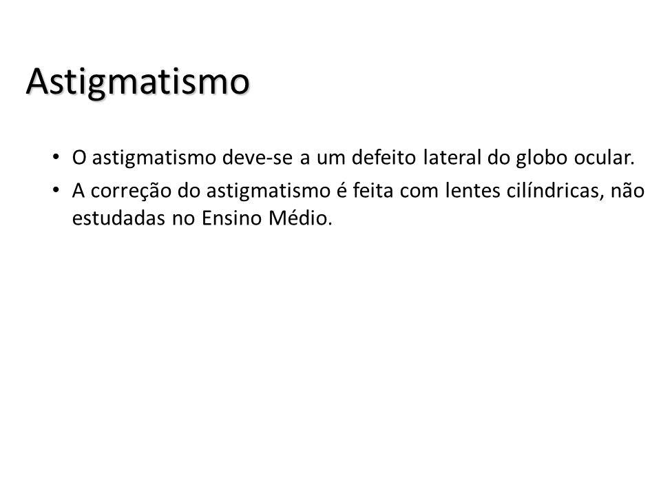 Astigmatismo O astigmatismo deve-se a um defeito lateral do globo ocular.