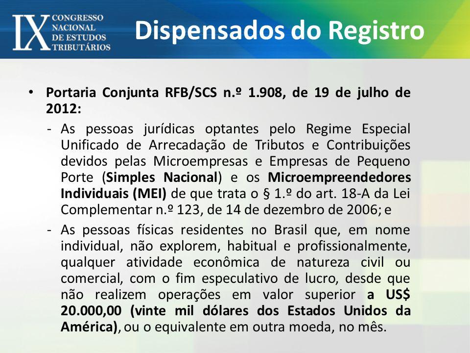 Dispensados do Registro