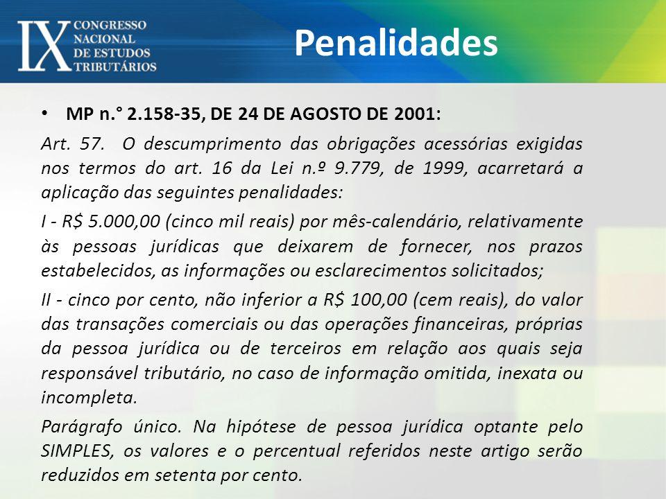 Penalidades MP n.° 2.158-35, DE 24 DE AGOSTO DE 2001:
