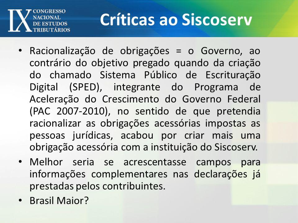 Críticas ao Siscoserv