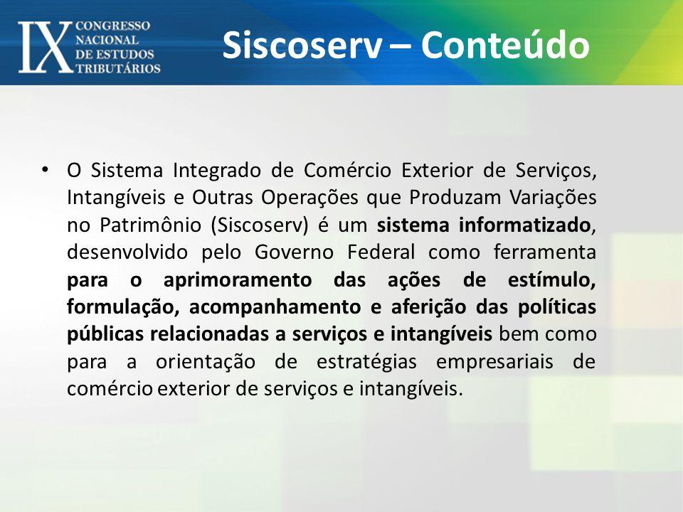 Siscoserv – Conteúdo