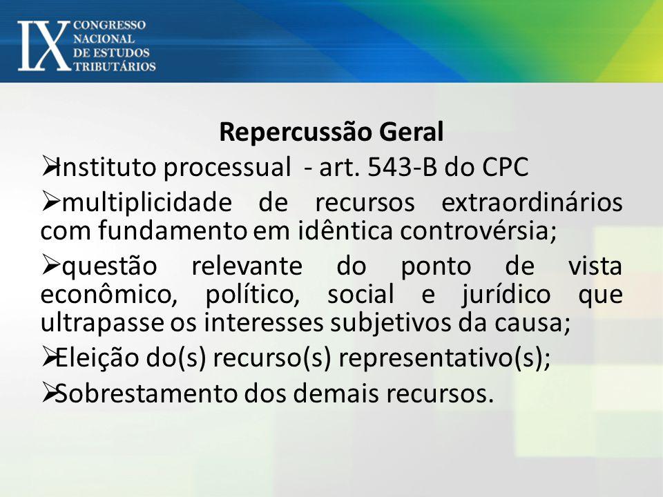 Repercussão Geral Instituto processual - art. 543-B do CPC. multiplicidade de recursos extraordinários com fundamento em idêntica controvérsia;