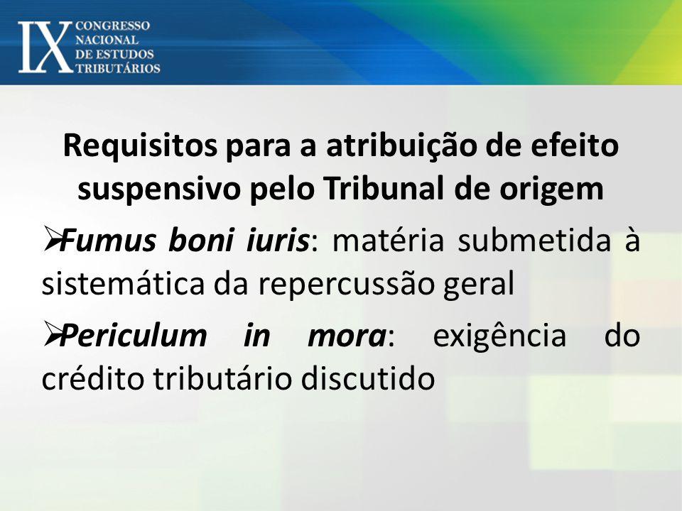 Requisitos para a atribuição de efeito suspensivo pelo Tribunal de origem