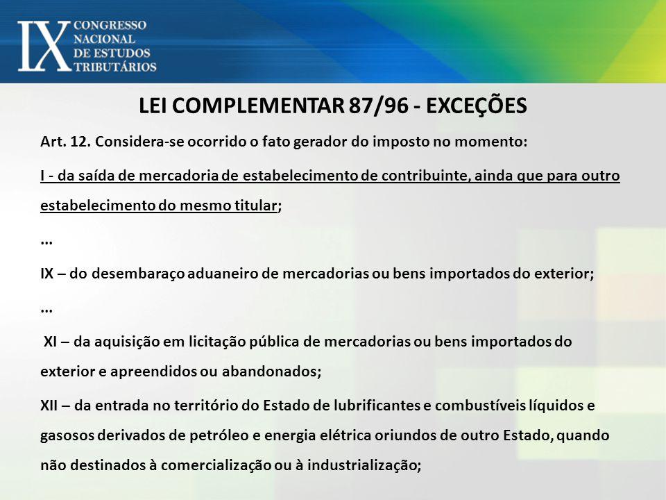 LEI COMPLEMENTAR 87/96 - EXCEÇÕES