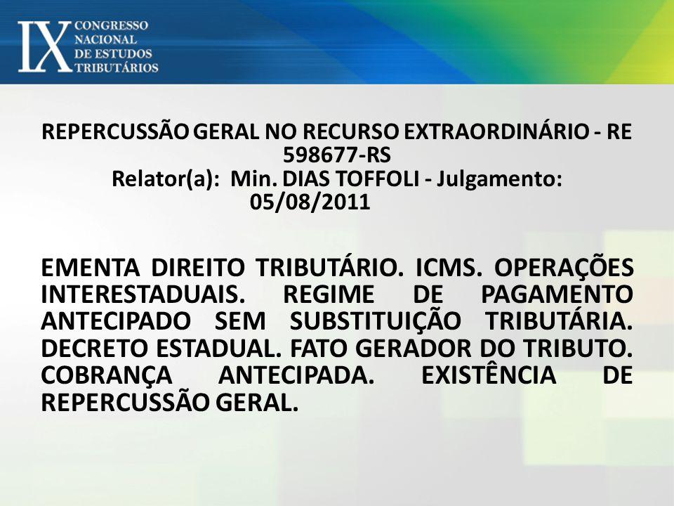REPERCUSSÃO GERAL NO RECURSO EXTRAORDINÁRIO - RE 598677-RS Relator(a): Min. DIAS TOFFOLI - Julgamento: 05/08/2011