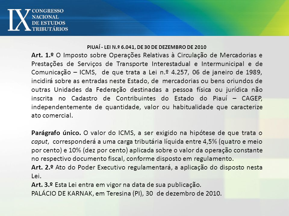 PIUAÍ - LEI N.º 6.041, DE 30 DE DEZEMBRO DE 2010