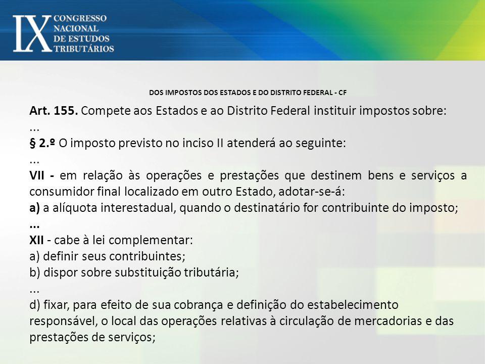 DOS IMPOSTOS DOS ESTADOS E DO DISTRITO FEDERAL - CF