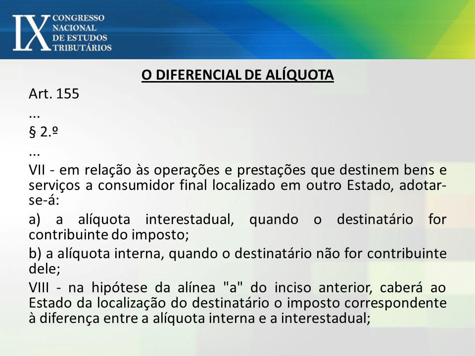 O DIFERENCIAL DE ALÍQUOTA Art. 155. § 2