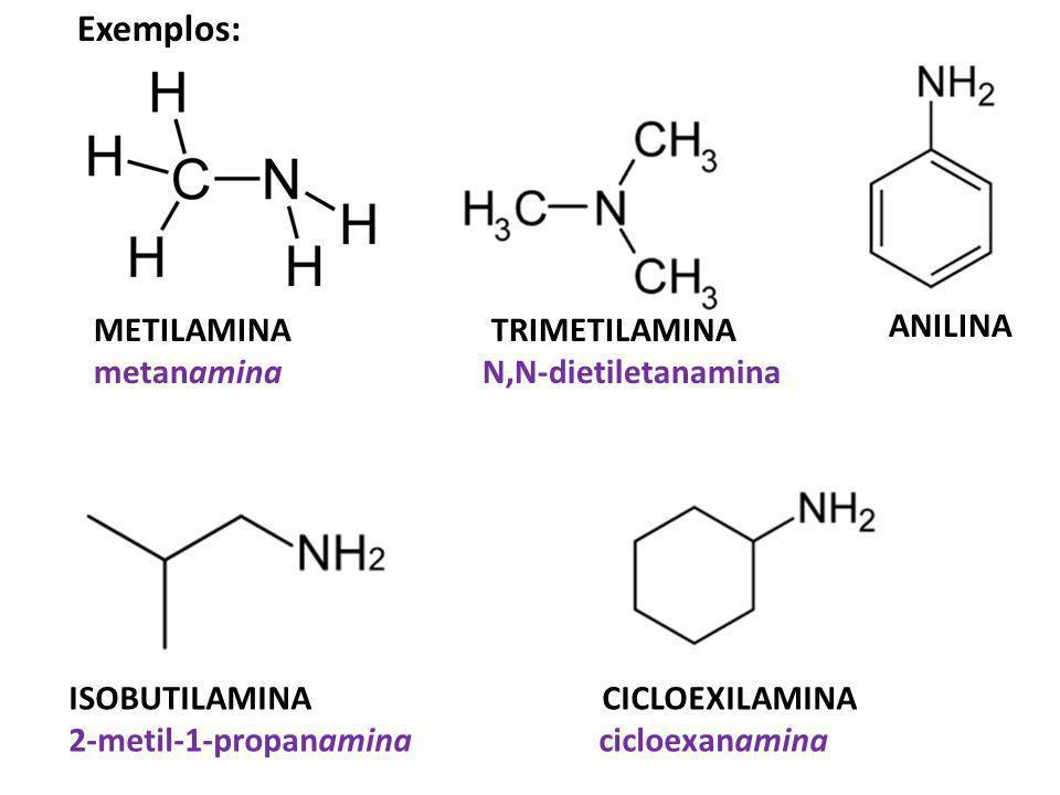 Exemplos: ANILINA METILAMINA TRIMETILAMINA