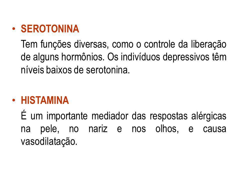 SEROTONINA Tem funções diversas, como o controle da liberação de alguns hormônios. Os indivíduos depressivos têm níveis baixos de serotonina.