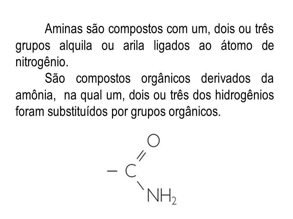 Aminas são compostos com um, dois ou três grupos alquila ou arila ligados ao átomo de nitrogênio.