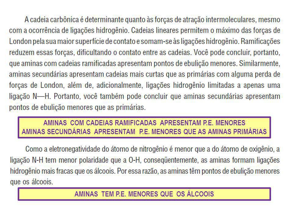 AMINAS COM CADEIAS RAMIFICADAS APRESENTAM P.E. MENORES