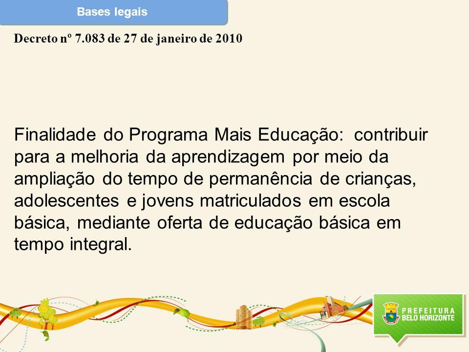Bases legais Decreto nº 7.083 de 27 de janeiro de 2010.
