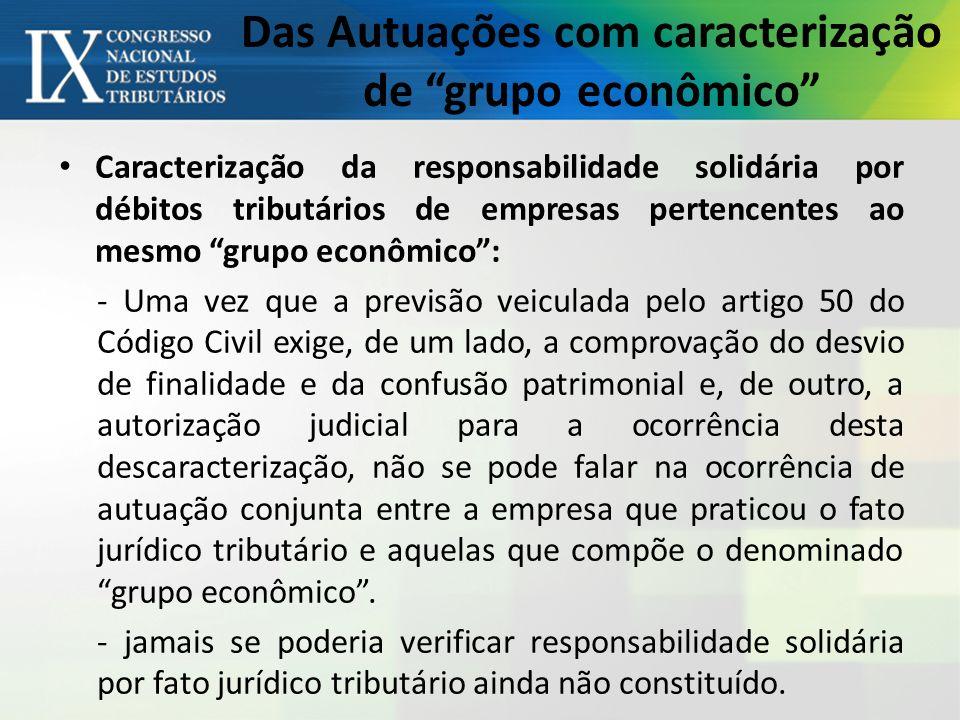 Das Autuações com caracterização de grupo econômico