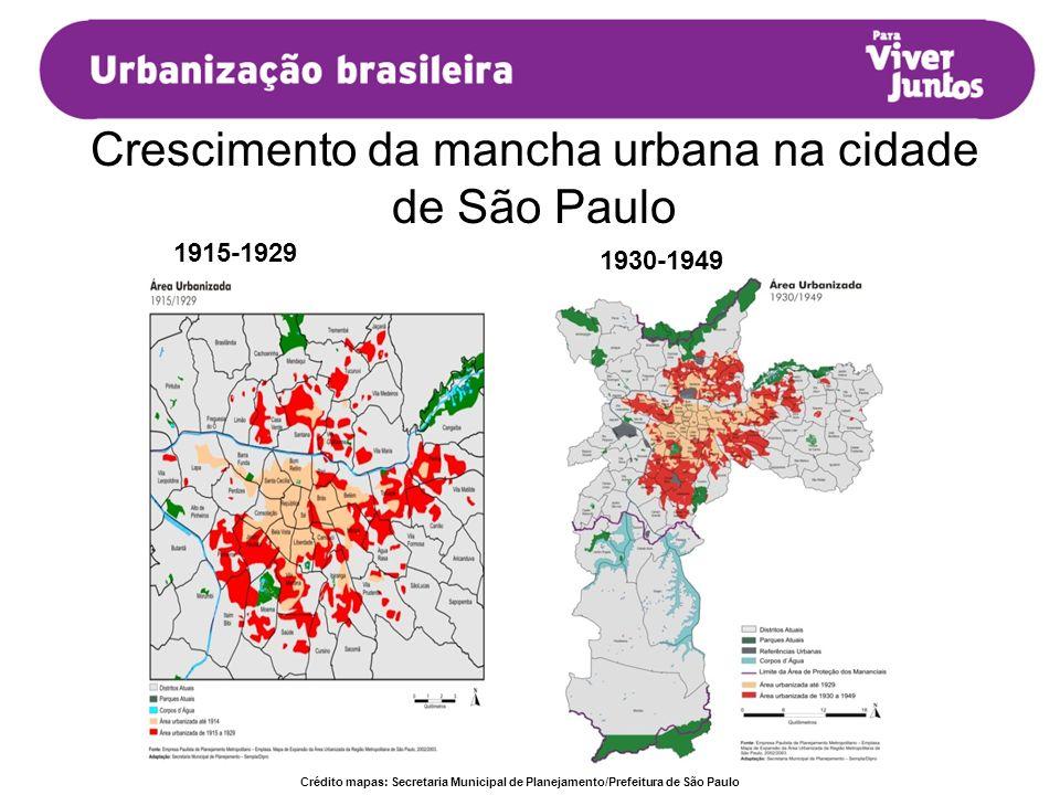 Crescimento da mancha urbana na cidade de São Paulo