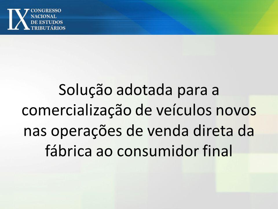 Solução adotada para a comercialização de veículos novos nas operações de venda direta da fábrica ao consumidor final
