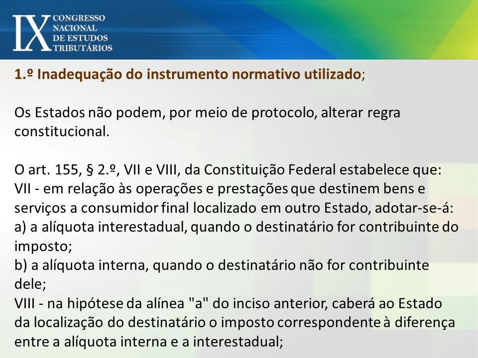 1.º Inadequação do instrumento normativo utilizado; Os Estados não podem, por meio de protocolo, alterar regra constitucional.