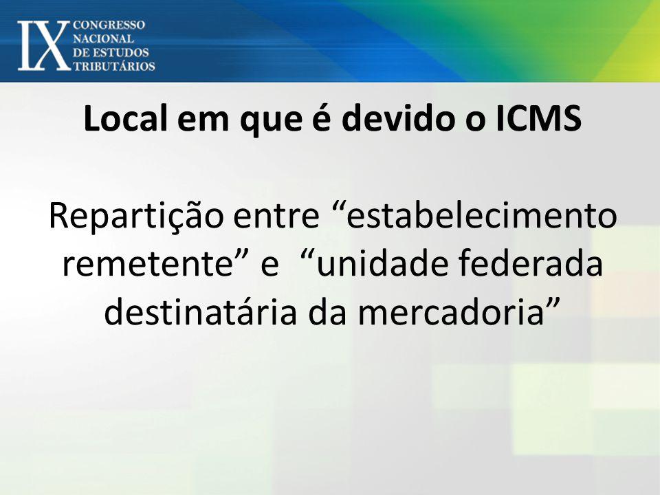 Local em que é devido o ICMS Repartição entre estabelecimento remetente e unidade federada destinatária da mercadoria