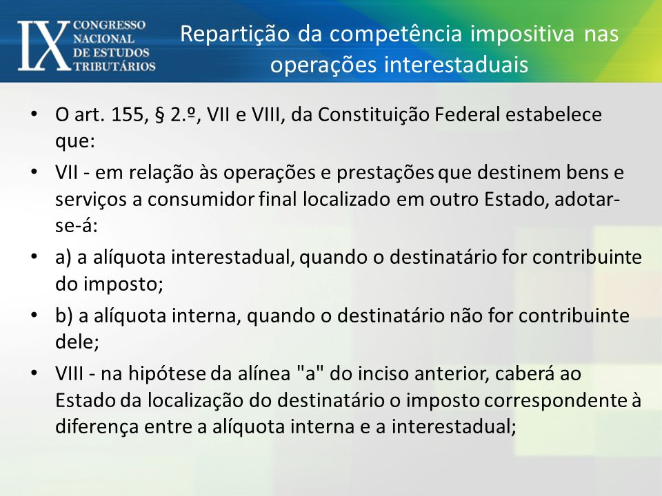 Repartição da competência impositiva nas operações interestaduais