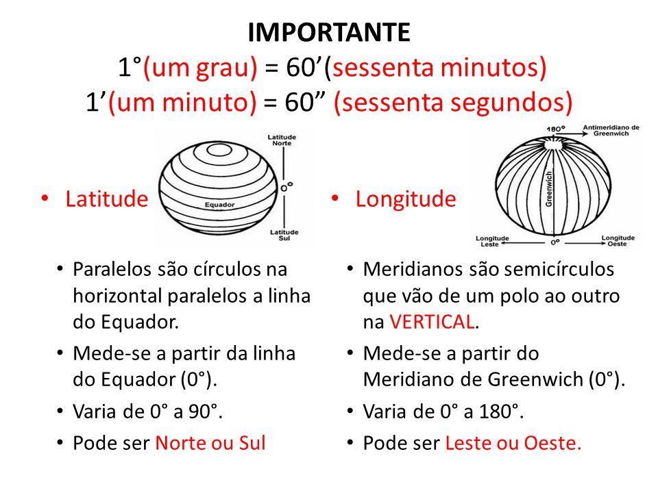 IMPORTANTE 1°(um grau) = 60'(sessenta minutos) 1'(um minuto) = 60 (sessenta segundos)