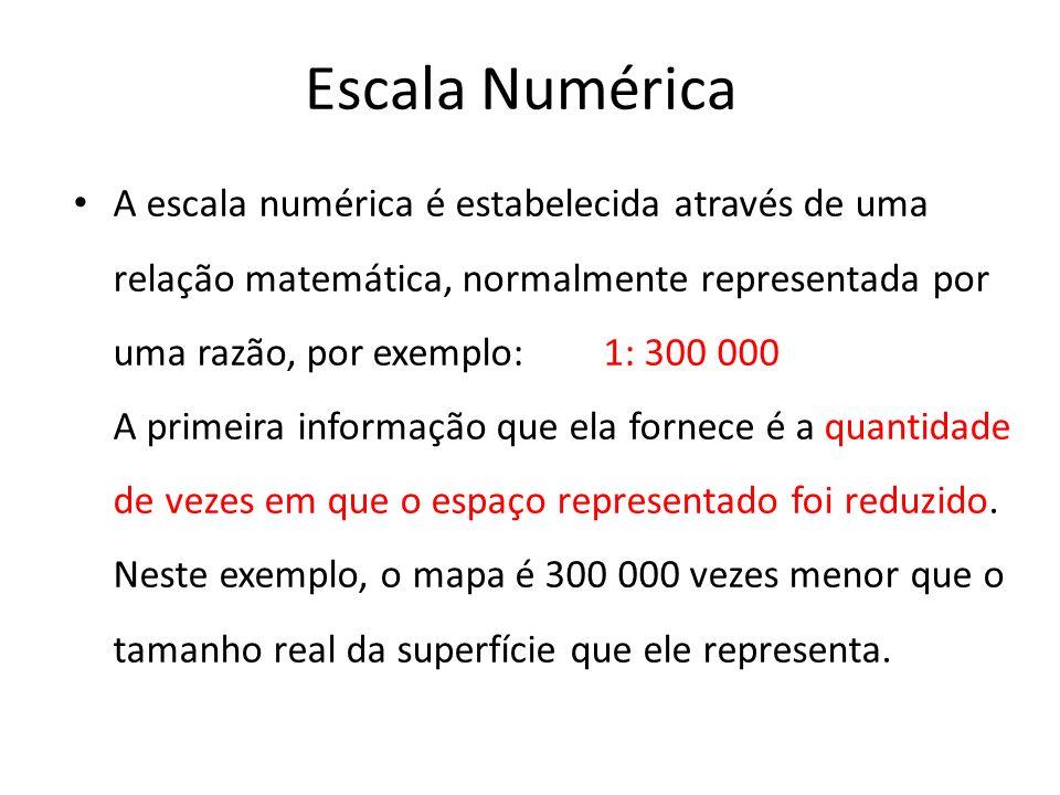 Escala Numérica A escala numérica é estabelecida através de uma relação matemática, normalmente representada por uma razão, por exemplo: 1: 300 000.