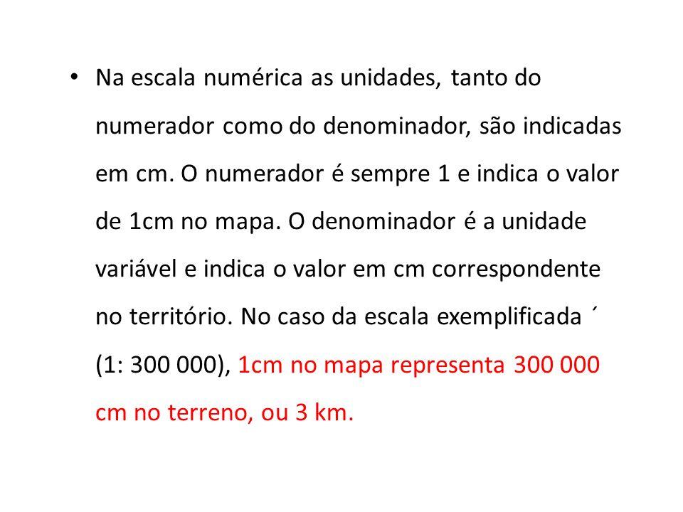Na escala numérica as unidades, tanto do numerador como do denominador, são indicadas em cm.