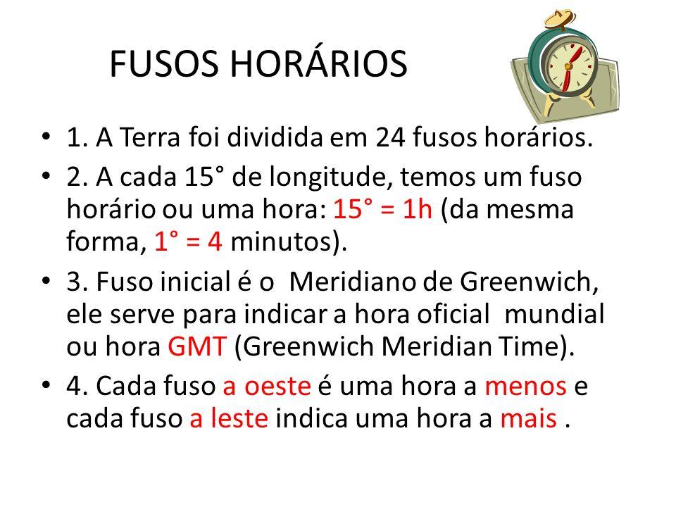 FUSOS HORÁRIOS 1. A Terra foi dividida em 24 fusos horários.