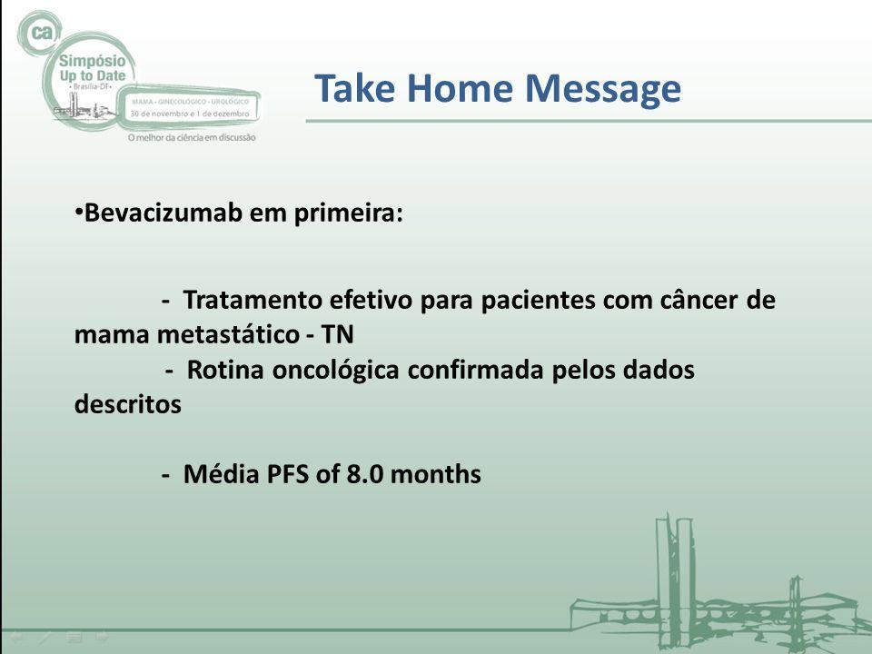Take Home Message Bevacizumab em primeira: