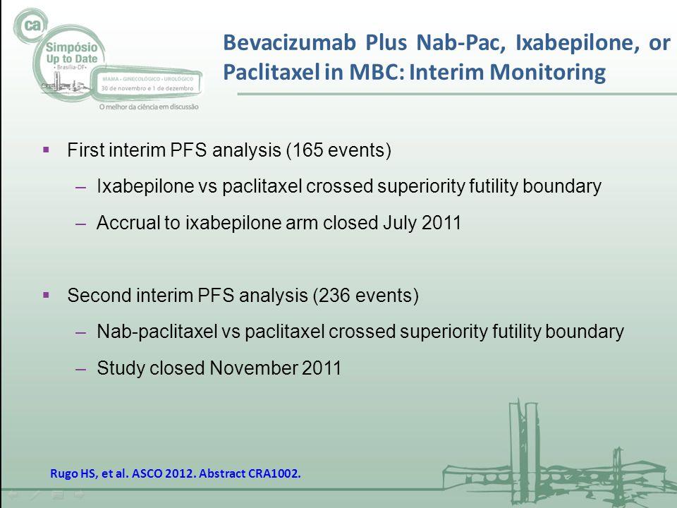 Bevacizumab Plus Nab-Pac, Ixabepilone, or Paclitaxel in MBC: Interim Monitoring