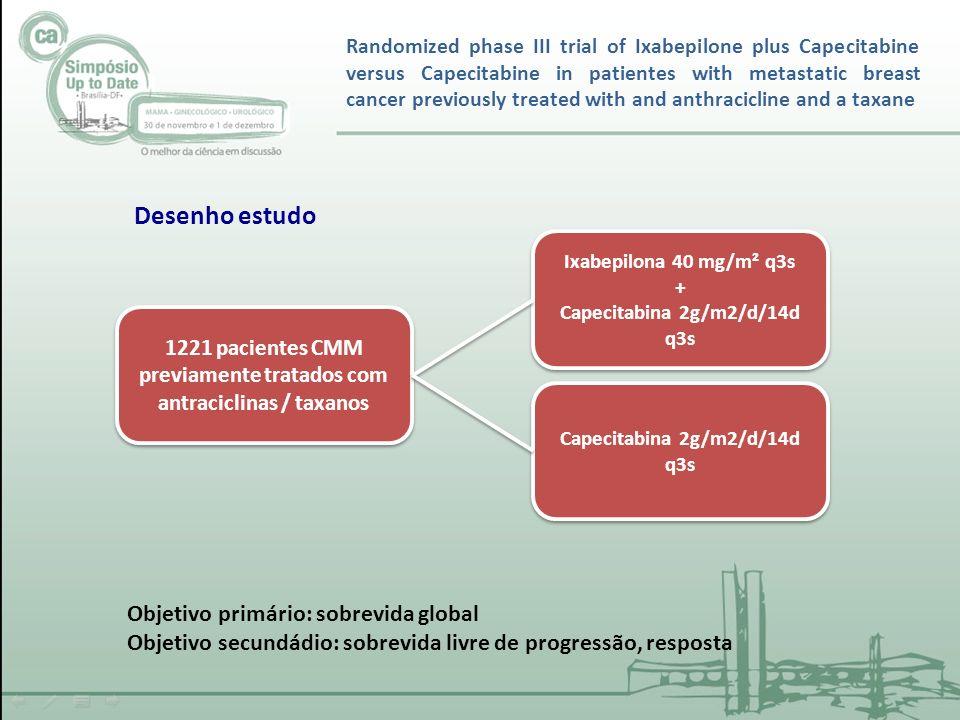 1221 pacientes CMM previamente tratados com antraciclinas / taxanos