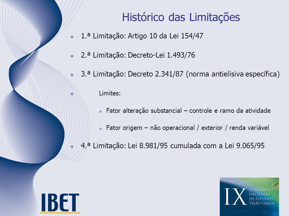 Histórico das Limitações