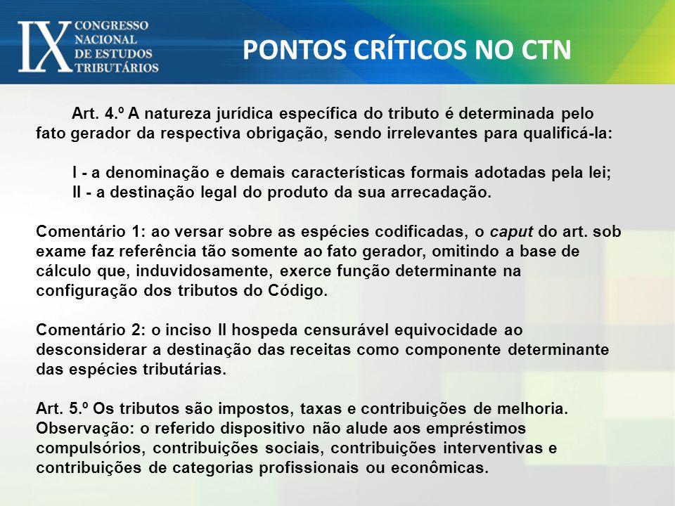 PONTOS CRÍTICOS NO CTN
