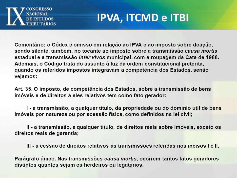 IPVA, ITCMD e ITBI