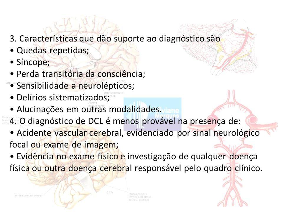 3. Características que dão suporte ao diagnóstico são