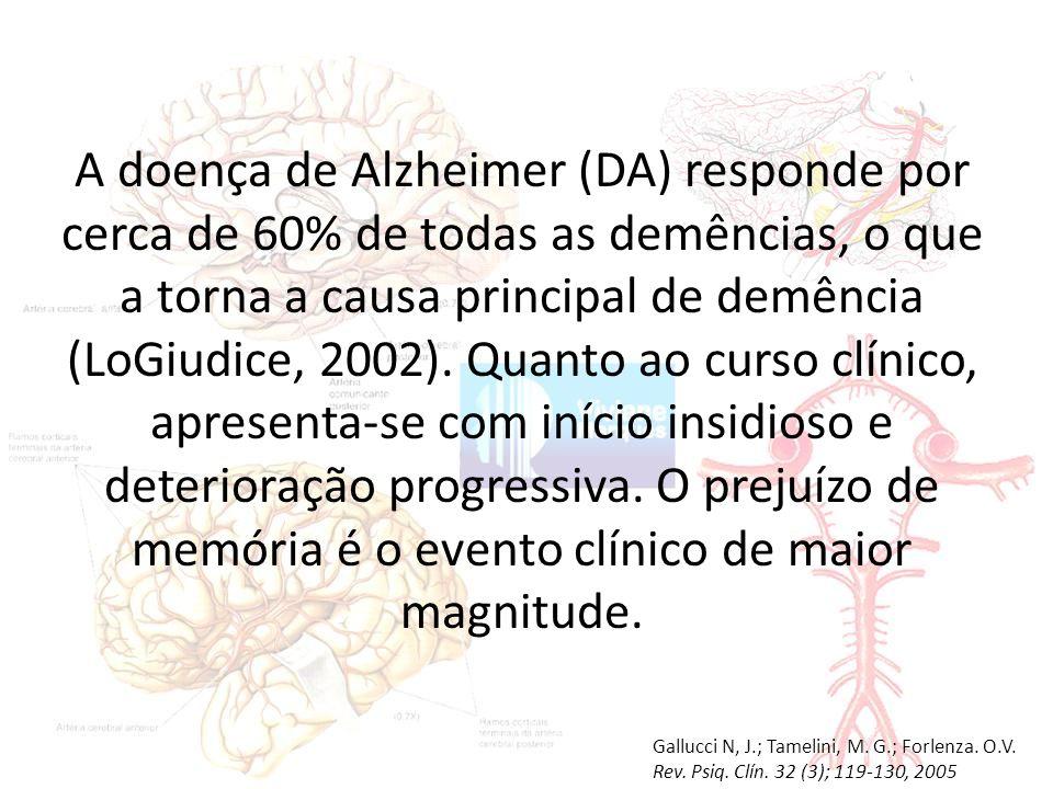 A doença de Alzheimer (DA) responde por cerca de 60% de todas as demências, o que a torna a causa principal de demência (LoGiudice, 2002). Quanto ao curso clínico, apresenta-se com início insidioso e deterioração progressiva. O prejuízo de memória é o evento clínico de maior magnitude.