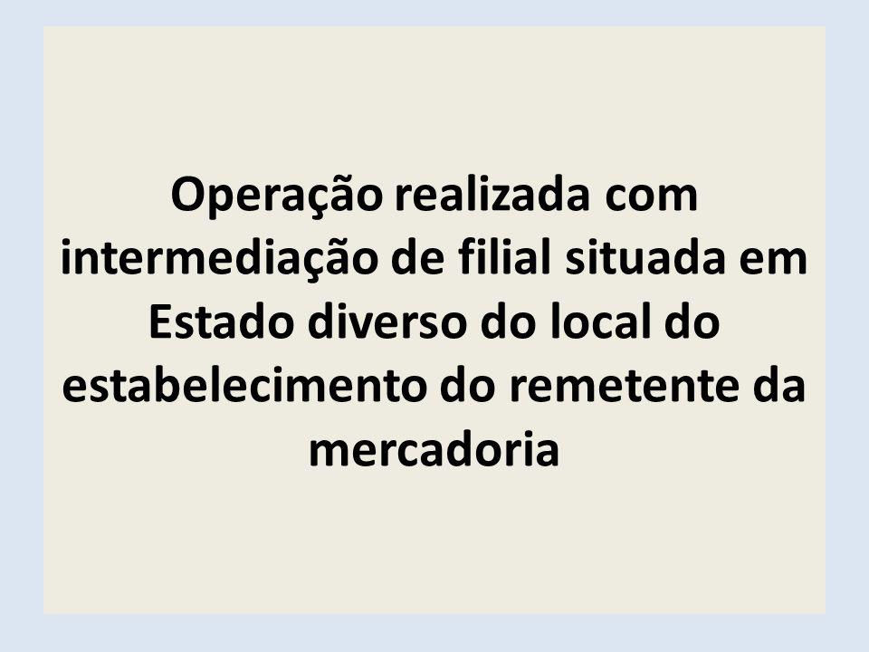 Operação realizada com intermediação de filial situada em Estado diverso do local do estabelecimento do remetente da mercadoria