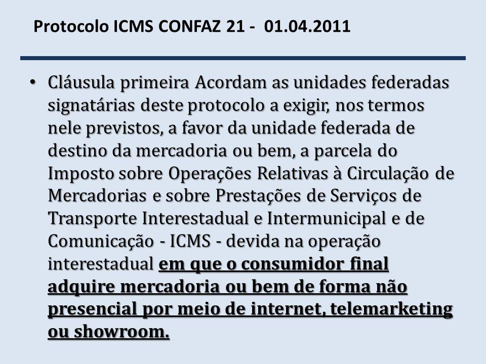 Protocolo ICMS CONFAZ 21 - 01.04.2011