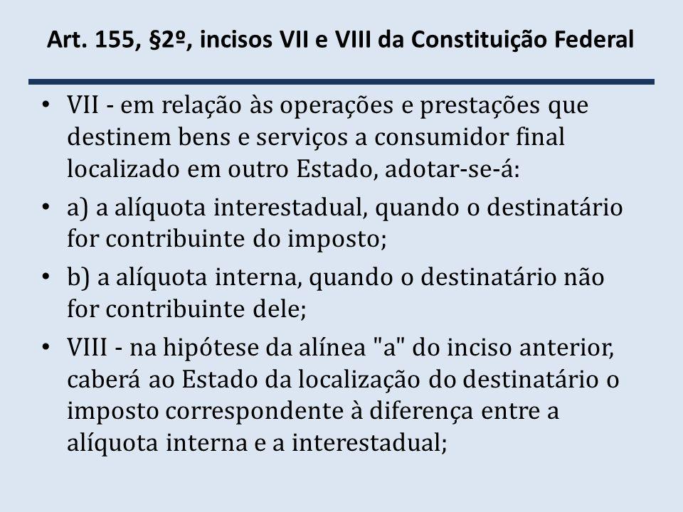 Art. 155, §2º, incisos VII e VIII da Constituição Federal