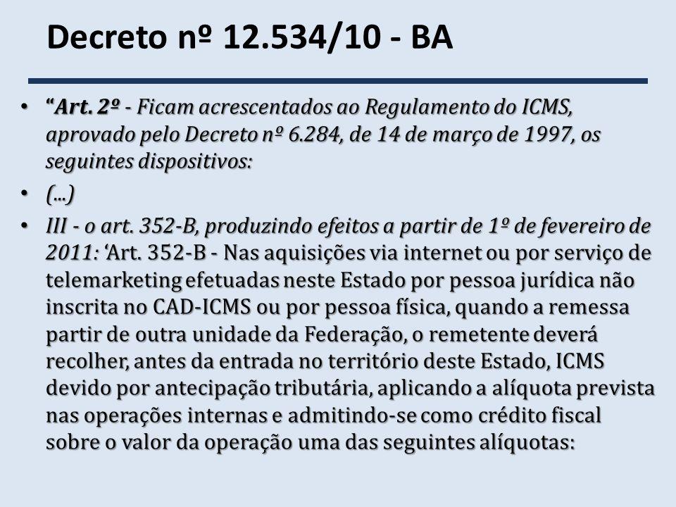 Decreto nº 12.534/10 - BA