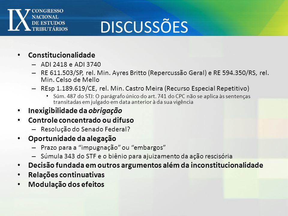DISCUSSÕES Constitucionalidade Inexigibilidade da obrigação