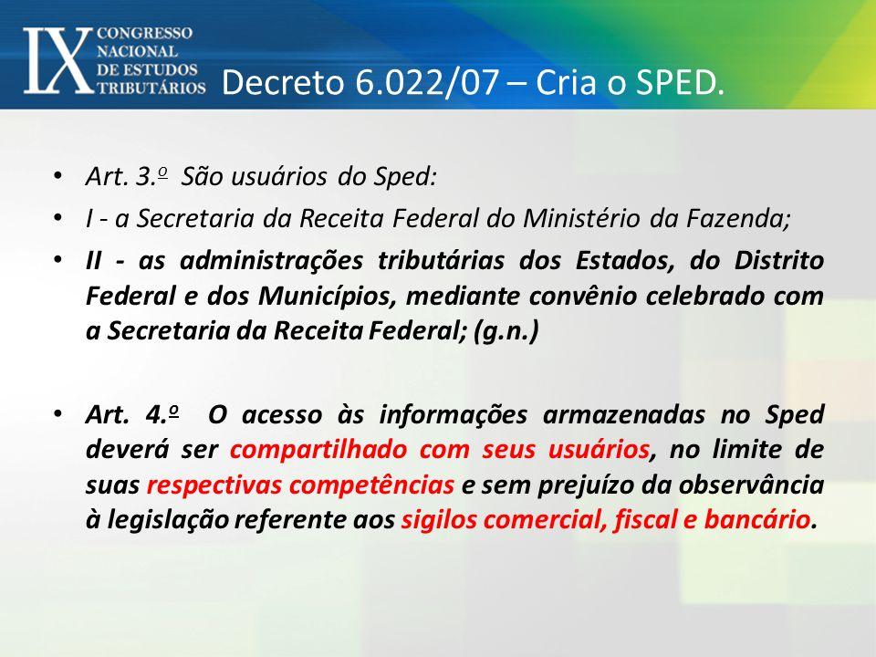Decreto 6.022/07 – Cria o SPED. Art. 3.o São usuários do Sped:
