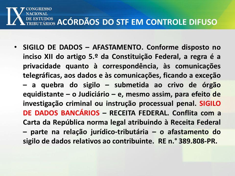 ACÓRDÃOS DO STF EM CONTROLE DIFUSO